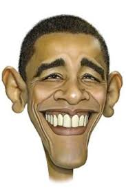 Grinning Obama caricature